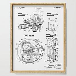 Movie Camera Patent - Film Camera Art - Black And White Serving Tray
