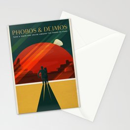 SpaceX Travel Poster: Phobos and Deimos, Moons of Mars Stationery Cards