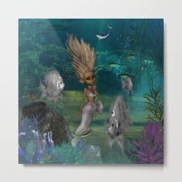 Cute mermaid with fantasy fish Metal Print