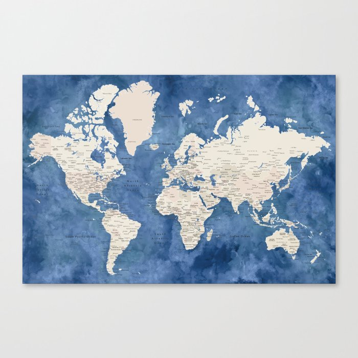 Light brown and blue watercolor detailed world map Leinwanddruck