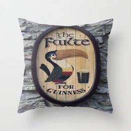 Wooden Guinness Sign Throw Pillow
