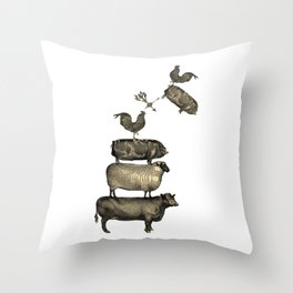 Farm Living - Stacked Animals Throw Pillow