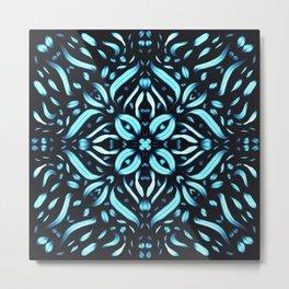 Blue Ice Fiery Mandala - Ice Flames - Floral Boho Art Metal Print