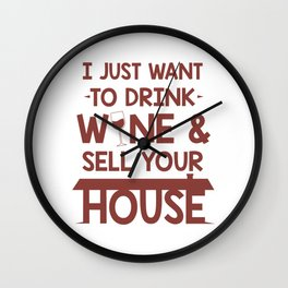 Real Estate Agent Profession Drink Wine Sell House Wall Clock