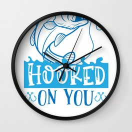 Fish Designs Hooked on You Wall Clock