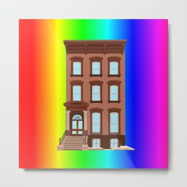 Rainbow Pride Brownstone House  Metal Print