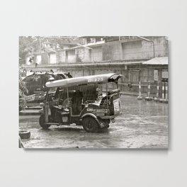 Tuk Tuk In The Rain Metal Print