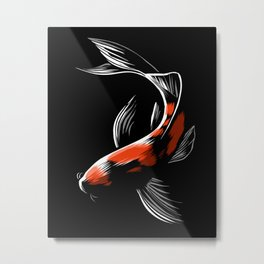 Black Japanese carp Metal Print