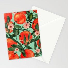 Orange garden fruit botanical watercolor art Stationery Cards