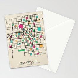 Colorful City Maps: Oklahoma City, USA Stationery Cards