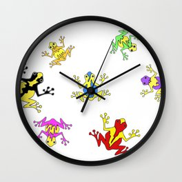 Frogs toads Super Colorful Cute Wall Clock