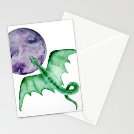 Green Watercolor Dragon Flying Over The Moon Stationery Cards