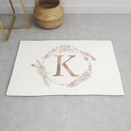 Letter K Rose Gold Pink Initial Monogram Rug