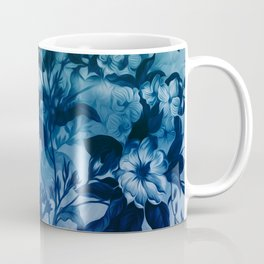 Blossoming flowers print in blue, wild nature drawing Coffee Mug