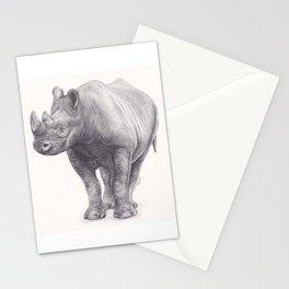 Rhinoceros - Big Wild Animal Artwork Drawing Rhino with Horn Stationery Cards