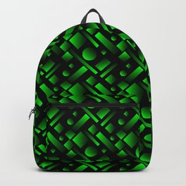 Geometric volumetric design with circles and green rectangles from stripes. Backpack