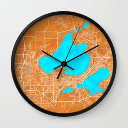 Madison, WI, USA, Gold, Blue, City, Map Wall Clock