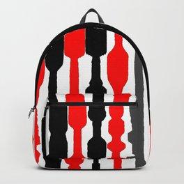red black grey white geometric striped pattern Backpack