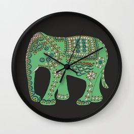 Lucky Elephant Green Wall Clock