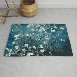 Van Gogh Almond Blossoms : Dark Teal Rug