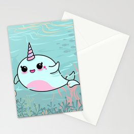 Cute Narwhal and Starfish Stationery Cards