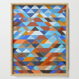 Triangle Pattern no.18 blue and orange Serving Tray