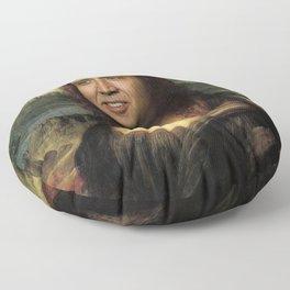 Nicholas Cage Mona Lisa face swap Floor Pillow