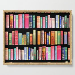 Vintage Book Library for Bibliophile Serving Tray