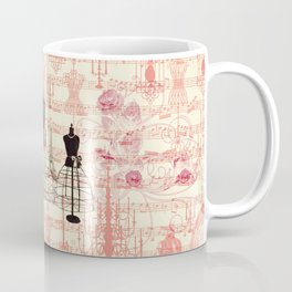 Vintage coral pink mannequin music note collage design Coffee Mug