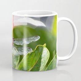 Red Dragonfly on leaf with bokah Coffee Mug