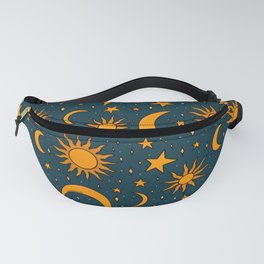 Vintage Sun and Star Print in Navy Fanny Pack