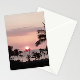 Pink sunset over palm trees and the Pacific II Stationery Cards