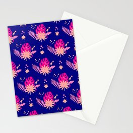 Modern navy blue pink abstract monster leaves illustration Stationery Cards