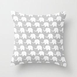Elephant Parade on Grey Deko-Kissen
