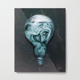 Trapped In This Idea - Aqua Metal Print