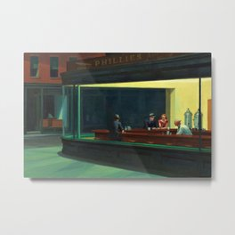 NIGHTHAWKS downtown diner late at night iconic cityscape oil on canvas painting by Edward Hopper Metal Print