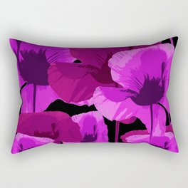 Bright Pink and Red Poppies On A Black Background Autumn Mood Rectangular Pillow