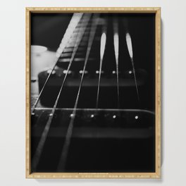 Guitar Cords Low Key Black & White Abstract Still Life Guitar Photograph Serving Tray