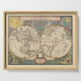 1672 World Polar Projection Map  Serving Tray