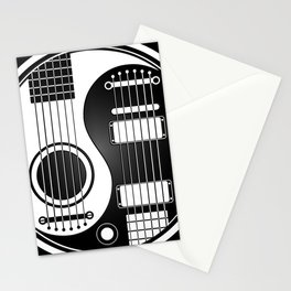 White and Black Acoustic Electric Yin Yang Guitars Stationery Cards