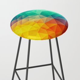 Abstract Polygon Multi Color Cubism Low Poly Triangle Design Bar Stool