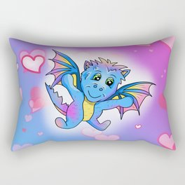 Cute little dragon with a big heart Rectangular Pillow