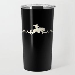 Rodeo Cowboy & Horse Heartbeat Gift Travel Mug
