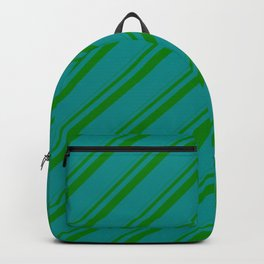 Green and Dark Cyan Colored Stripes Pattern Backpack