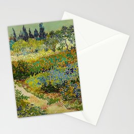 Garden at Arles / Flowering Garden with Path by Vincent Van Gogh (1888) Stationery Cards