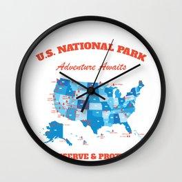 U.S National Parks Map Hiker Camper Summer Vacation Wall Clock