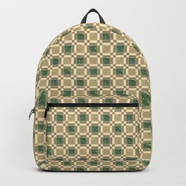 Gold & Green Antique Square Tile Pattern Backpack