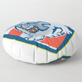 Bulldog Spanner Mascot Shield Floor Pillow