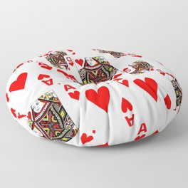 RED QUEEN OF HEARTS  & ACES PLAYING CARDS ARTWORK Floor Pillow