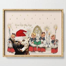Cat singing Christmas carol Silent Night Serving Tray